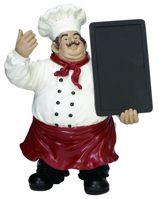 Daily Specials Chalkboard Chef Statue.