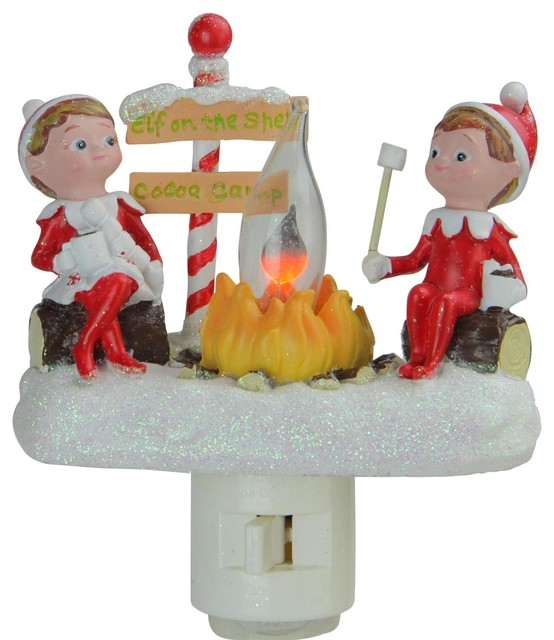 "4.5"" Elf On The Shelf Campfire Site Christmas Night Light."
