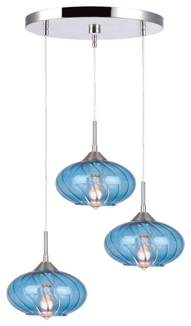 Pulsar 3-Light Ceiling Cluster Pendant, Blue, Satin Nickel.