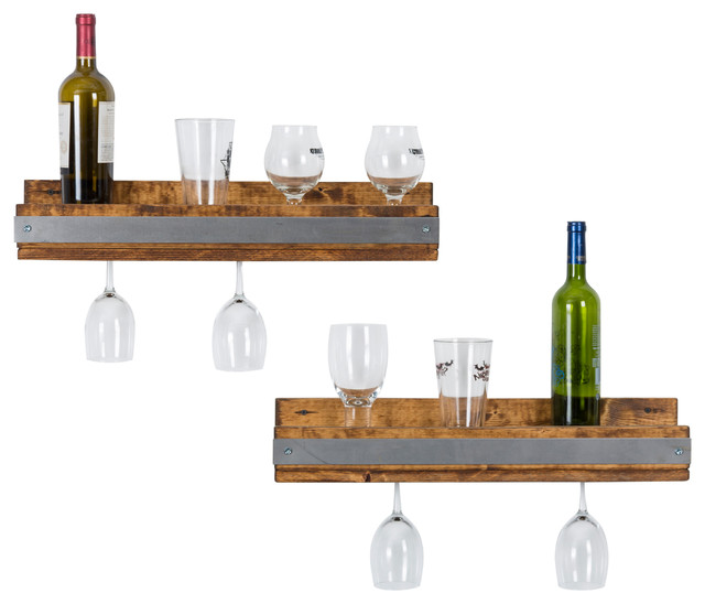 industrial shallow wine shelves set of 2