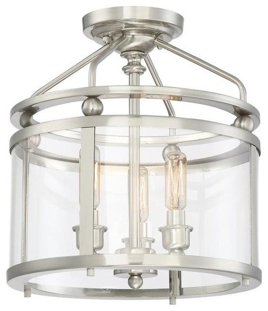 Sterno Semi-Flush Light, Brushed Nickel And Glass.