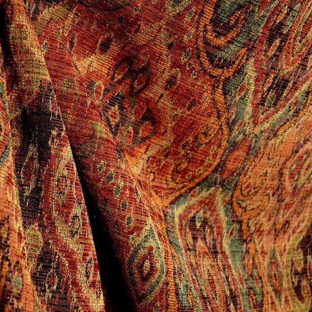 M9842 Garnet Rust Orange Green Black Tapestry Damask