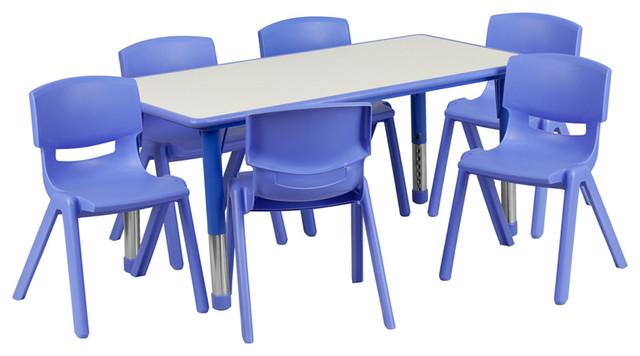 Preschool Activity Table Set, Blue/Gray