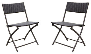 Set of 2 Resin Wicker Folding Chairs,Antique Bronze