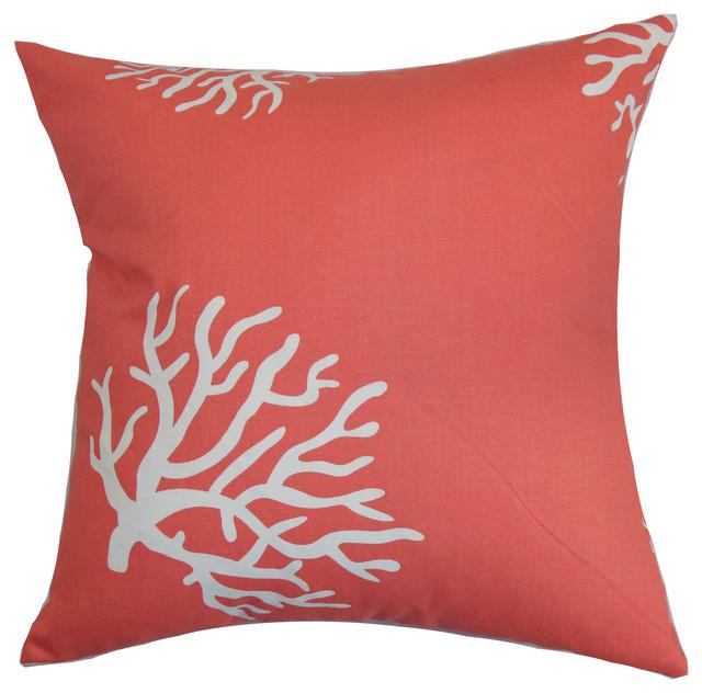jessamine coral pillow beach style decorative pillows - Coral Decorative Pillows