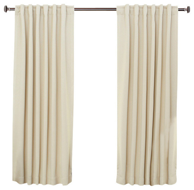 Solid back tab thermal insulated blackout curtains Beige curtains