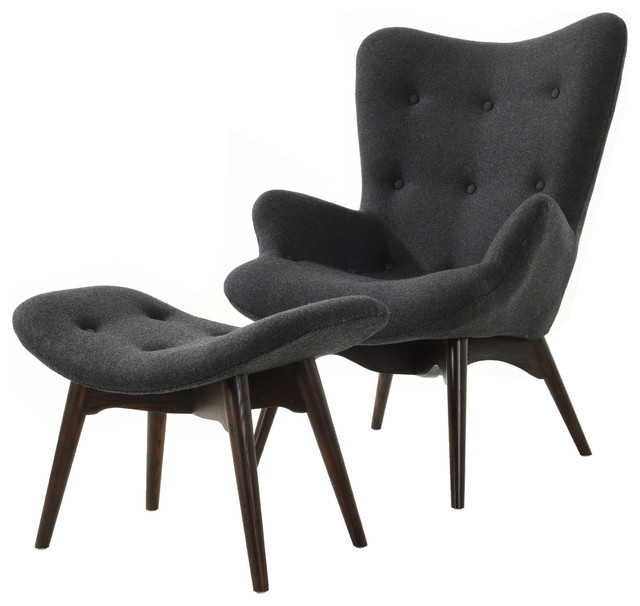 auzzie lounge chair and ottoman gray