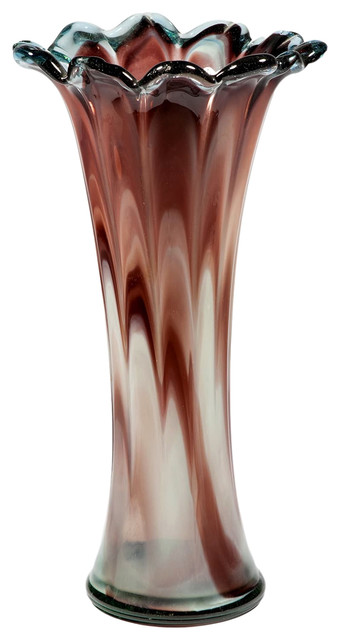 Consigned Vintage Large Art Glass Vase Tall Purple Blown Glass Deco