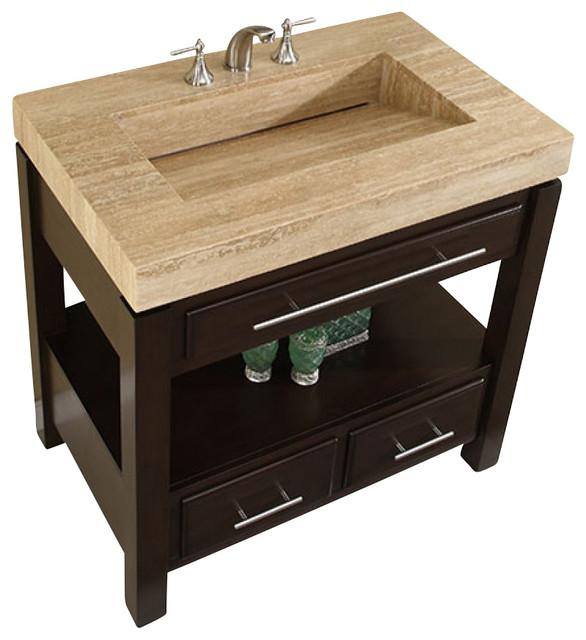 Incredible 36 Inch Espresso Bathroom Vanity With Single Sink Travertine Top Modern Interior Design Ideas Gentotryabchikinfo
