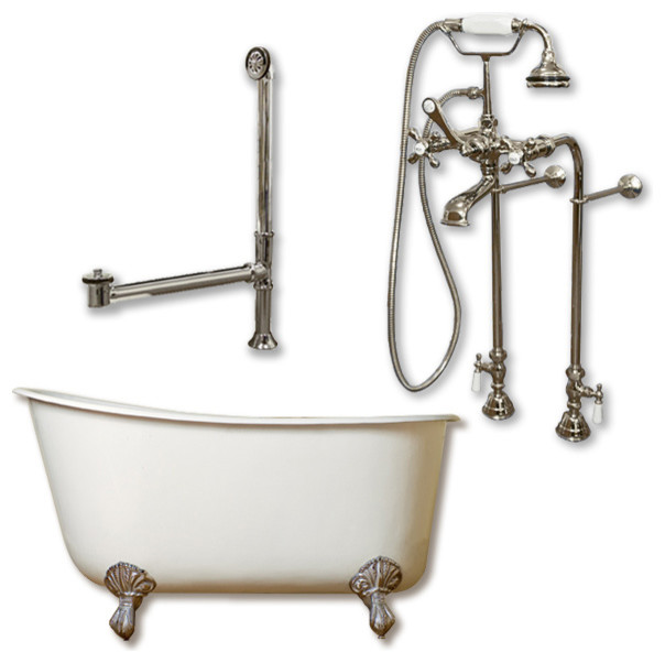 """Cast Iron Swedish Slipper Tub 54"""", Standing Faucet Shower Nickel Package."""