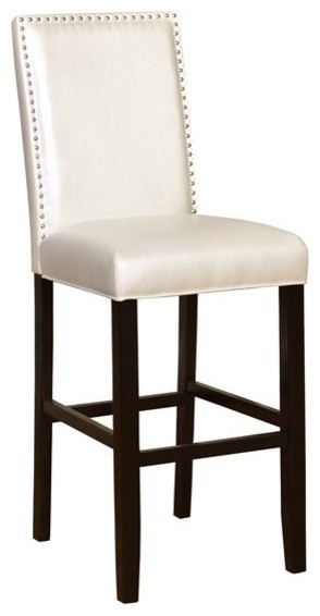 Rubberwood and Fabric and Foam Bar Stool, Black by Linon Home Decor Products
