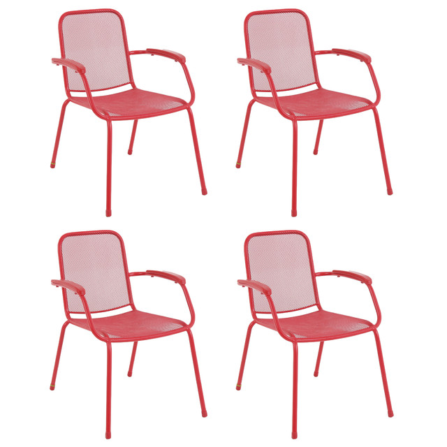 Milo Metal Mesh Stacking Arm Chair, Red Contemporary Outdoor Dining Chairs