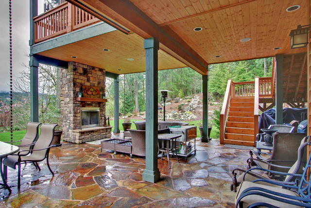 Two Level Covered Deck Rustic Seattle By Mastercraft Nw