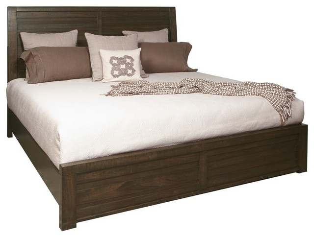 Samuel Lawrence Ruff Hewn California King Panel Bed In Brown.
