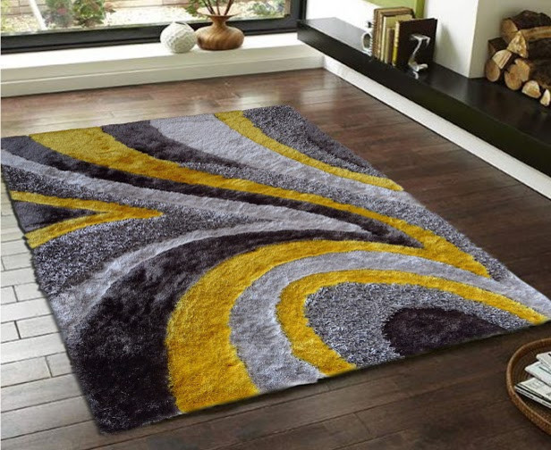 5'x7' Hand-Tufted Gray With Yellow Living Room Shaggy Area Rug
