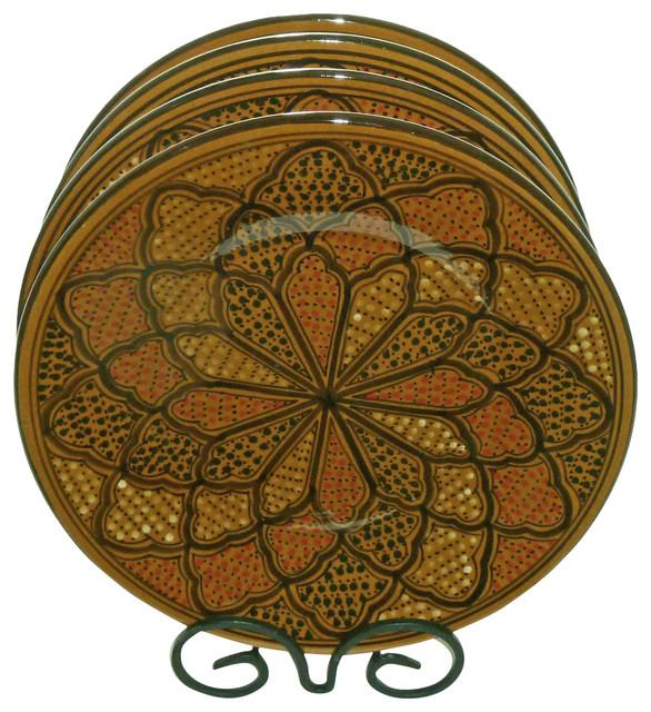Mediterranean Style Dinnerware: Honey Design Dinner Plates, Set Of 4