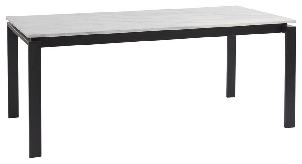 Parsons White Marble Top Dark Bronze Base Dining Tables 60