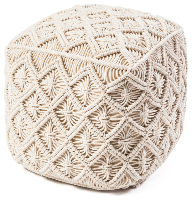 Macrame Square Pouf Contemporary Floor Pillows And
