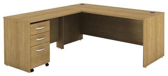 Bush Series C 3 Piece L Shape Computer Desk In Light Oak
