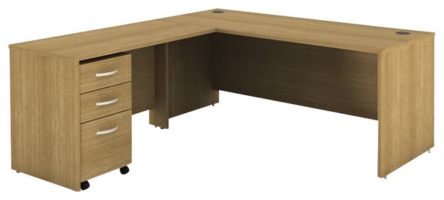 Bush Series C 3-Piece L-Shape Computer Desk In Light Oak