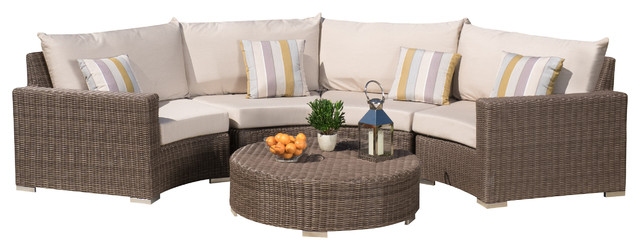 Gregory Outdoor Aluminum Sectional Seating With Sunbrella Cushions 5-Piece Set.