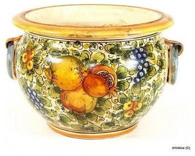 Tuscania Round Cachepot Mediterranean Indoor Pots And