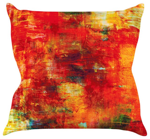 Ebi Emporium Autumn Harvest Red Orange Throw Pillow
