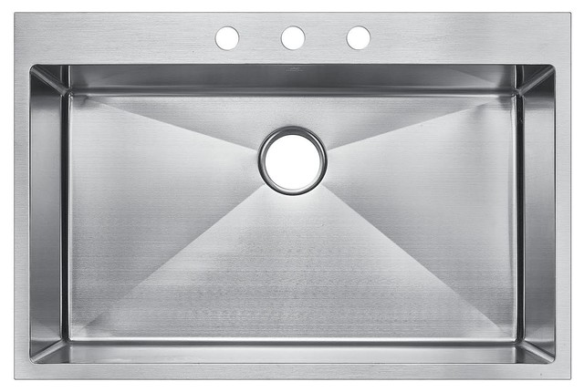 Starstar Top Mount Drop-In Stainless Steel Single Bowl Kitchen Sink.