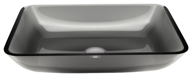 Vigo Vg07082 17-3/4 Glass Vessel Bathroom Sink, Sheer Black.