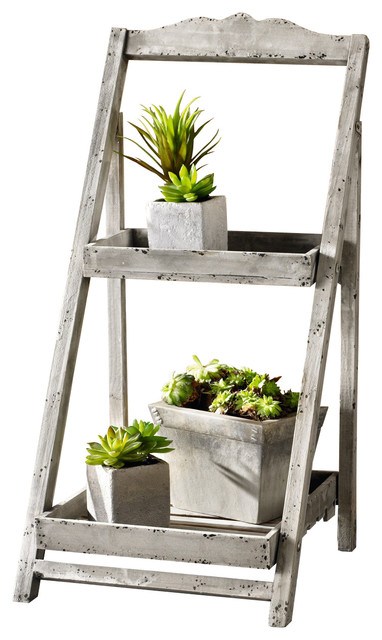 34 Tall Foldable Wooden Plant Stand For Outdoor 2 Shelves