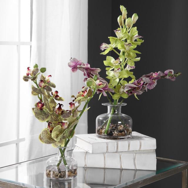 Uttermost Malin Orchid Bud Vases 2 Piece Set Artificial Flower Arrangements By Hedgeapple