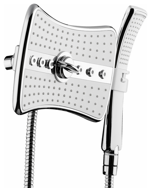 Akdy 4-Setting Multi-Function Rainfall Massage Handheld Shower Head, Chrome/whit.