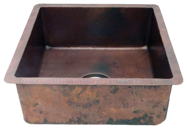 """Copper Crafted Hammered Square Bar Or Prep Sink With Straight Sides, 18""""."""