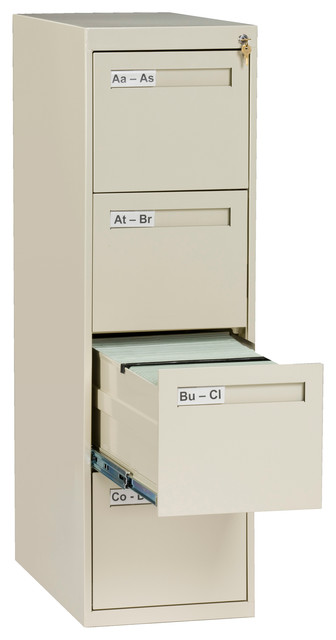 4-Drawer Letter Size Vertical File Cabinet - Contemporary - Filing Cabinets - by Tennsco Corp