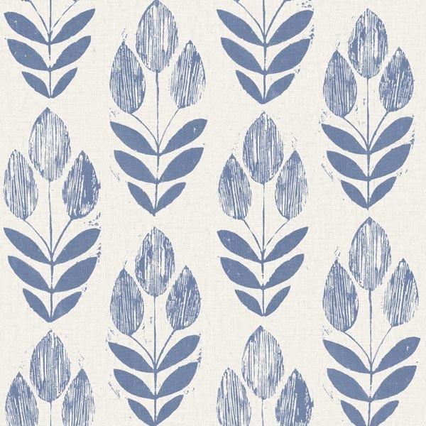 Scandinavian Blue Block Print Tulip Wallpaper Bolt.