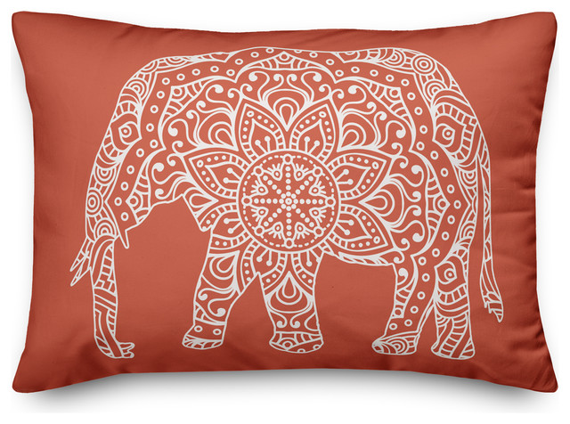 Orange Mandala Elephant Throw Pillow Mediterranean Decorative Pillows By Designs Direct