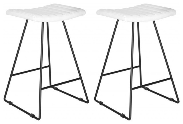 Awesome Safavieh Akito Counter Stool Set Of 2 White Gmtry Best Dining Table And Chair Ideas Images Gmtryco