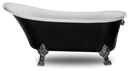"Kokss Cesano 63"" Freestanding Modern Seamless Acrylic Clawfoot Bathtub, Black"