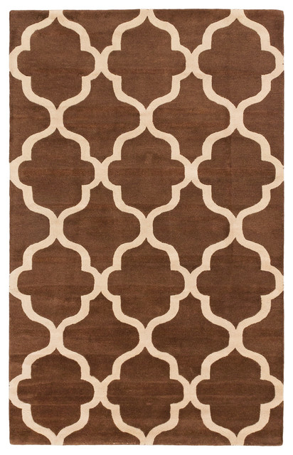 handmade trellis rug brown and cream