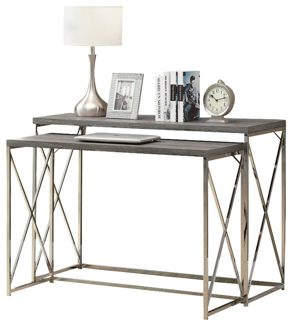 Monarch Specialties 3257 2Piece Nesting Table Set in Dark Taupe
