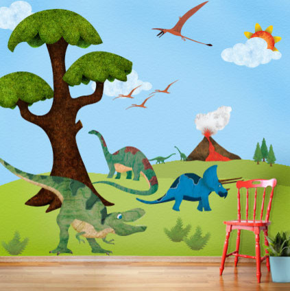 Dinosaur Wall Mural Sticker Kit Contemporary Wall Decals by My