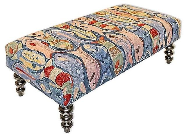 Swimming Fish Wool Hooked Handmade Bench.