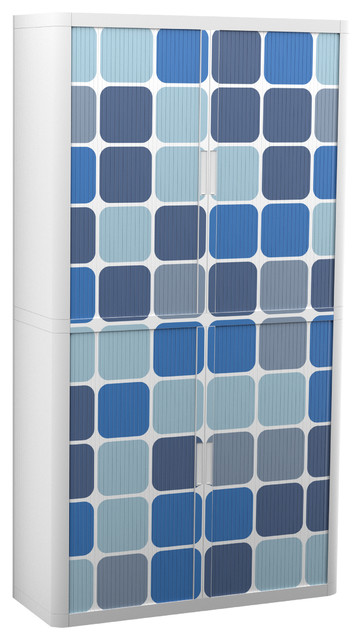 "Paperflow Easyoffice Storage Cabinet, 80"" Tall With Four Shelves, Blue Squares."