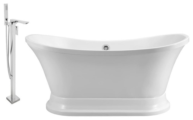 """Faucet And Tub Set Streamline 68"""" Freestanding Nh201ch-140."""