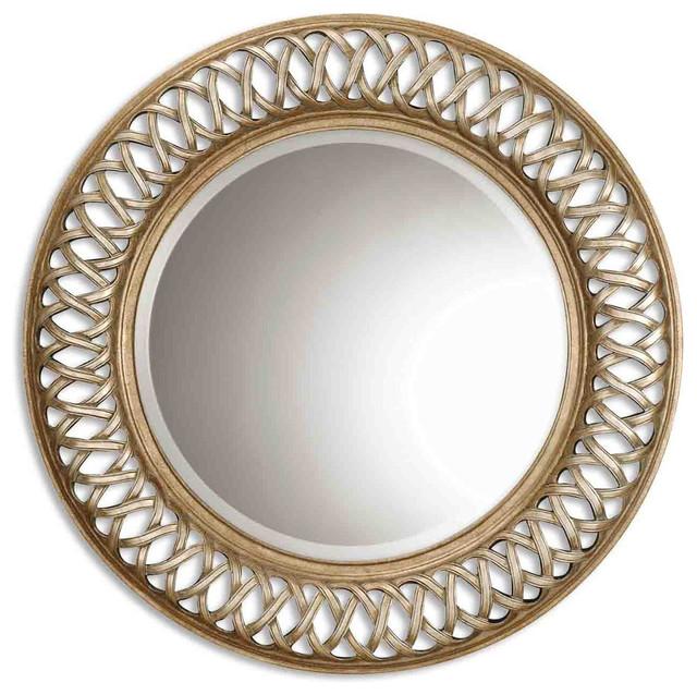 "Georgette Wall Mirror, Antique Gold, 45""x45""."