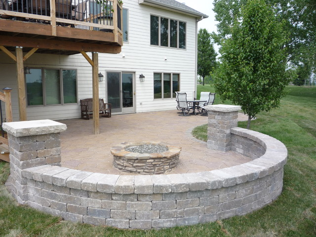 Elegant Grimes Paver Patio, Seat Wall With Pillars And Gas Burning Fire Pit