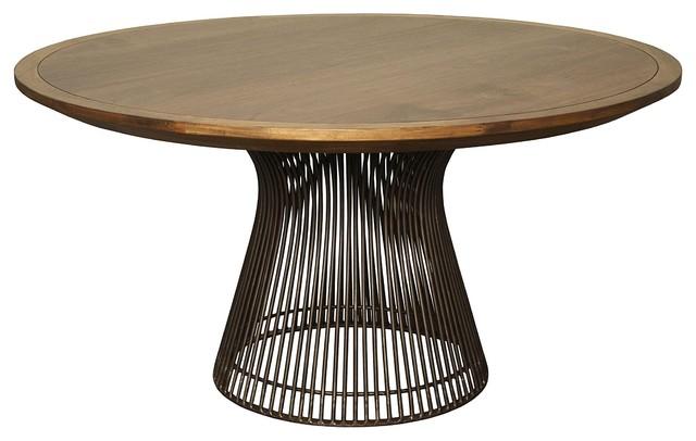 60 Round Dining Table Solid Iron Base Dark Walnut Wood Top Modern Finish