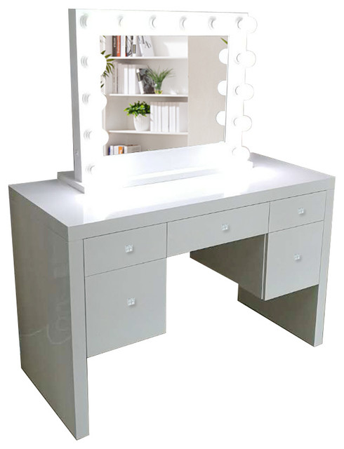 """Glam Vanity Makeup Table With Dimmer, Organizer and Mirror, White, 48"""""""