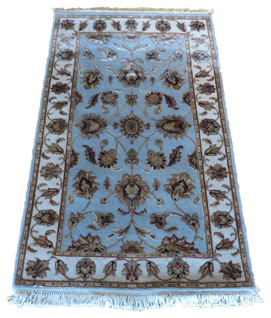 3x5 Hand Knotted Fine Tabriz Light Blue Oriental Rug Traditional
