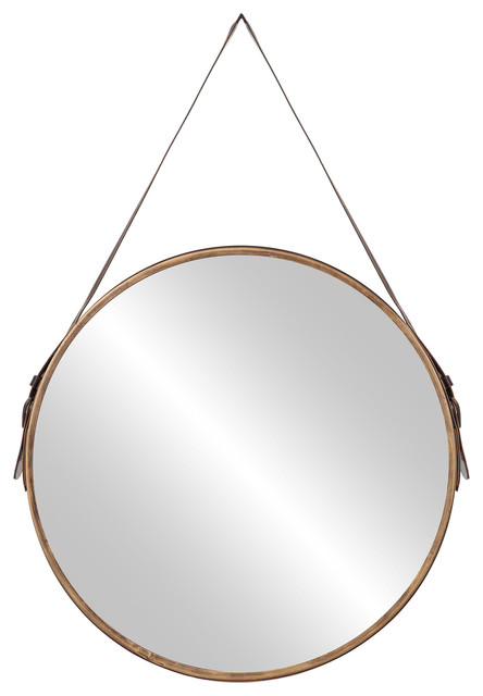 """20"""" Round Wall Accent Mirror With Leather Belt Hanger"""
